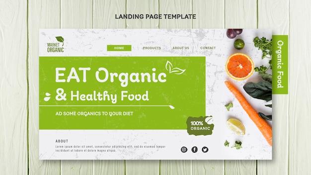 Modèle de page de destination pour le concept d'aliments biologiques