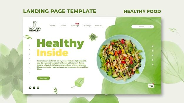 Modèle de page de destination pour le concept d'aliments sains