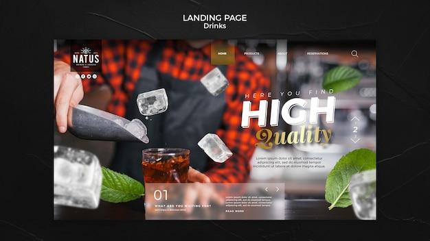 Modèle de page de destination pour le concept de boissons