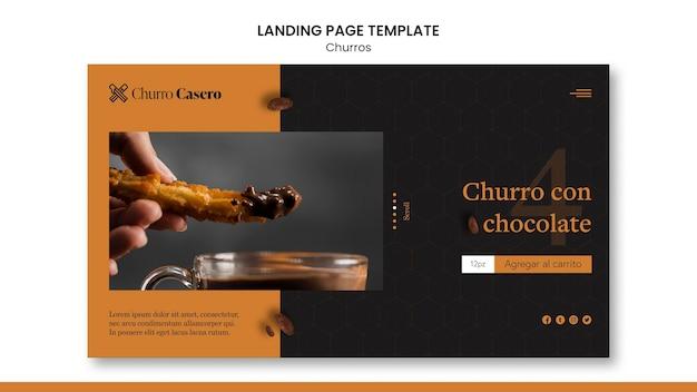 Modèle de page de destination pour le concept churros