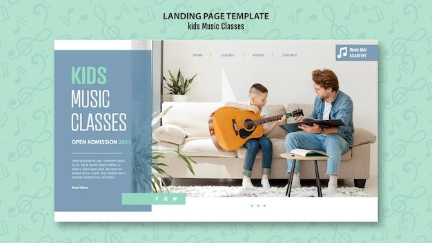 Modèle de page de destination pour le concept de cours de musique pour enfants