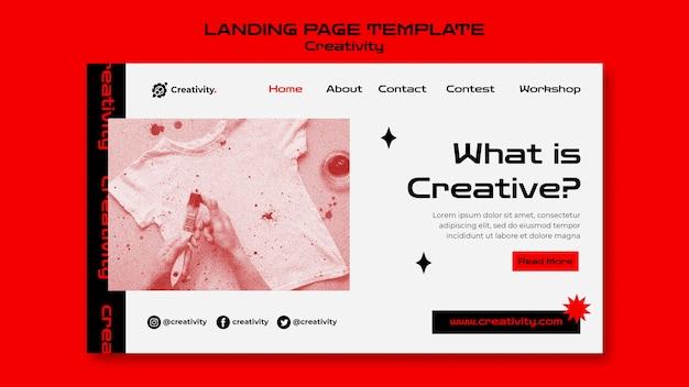 Modèle de page de destination pour le concept de créativité