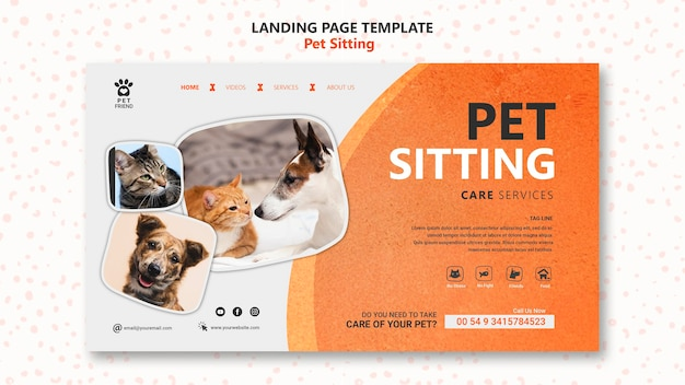 Modèle de page de destination pour le concept de garde d'animaux