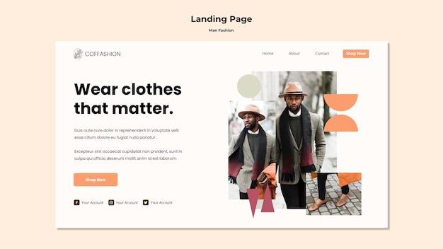 Modèle de page de destination pour le concept de mode homme