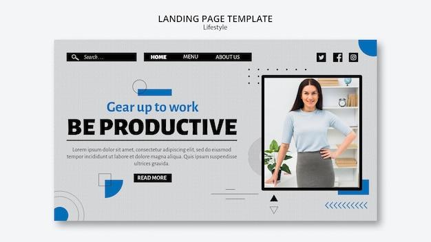 Modèle de page de destination pour le concept de productivité