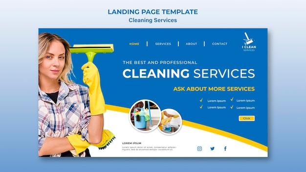 Modèle de page de destination pour le concept de service de nettoyage