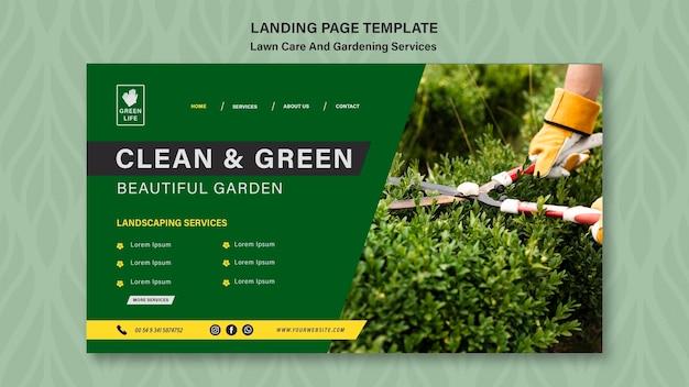 Modèle de page de destination pour le concept de soins de la pelouse