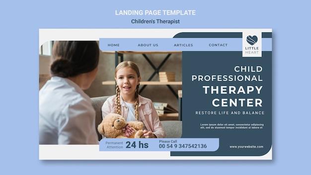 Modèle de page de destination pour le concept de thérapeute pour enfants