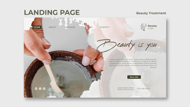 Modèle de page de destination pour le concept de traitement de beauté
