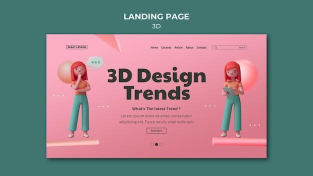 Modèle de page de destination pour la conception 3d avec femme