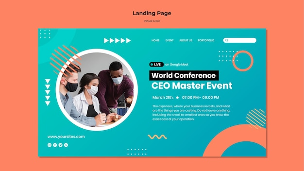 Modèle de page de destination pour la conférence événementielle du chef de la direction