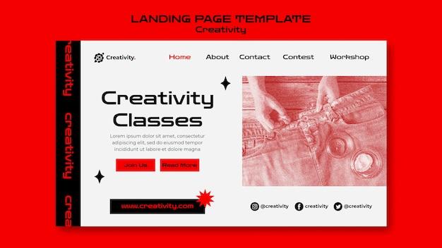 Modèle de page de destination pour les cours de créativité