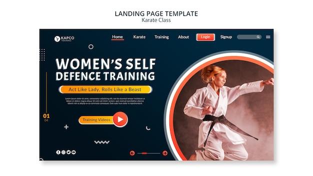 Modèle de page de destination pour le cours de karaté féminin