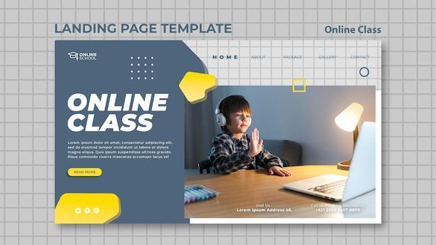 Modèle de page de destination pour les cours en ligne avec enfant