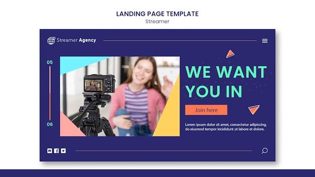 Modèle de page de destination pour diffuser du contenu en ligne