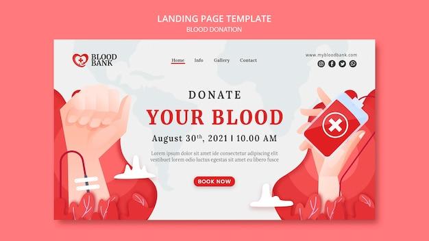 Modèle de page de destination pour le don de sang