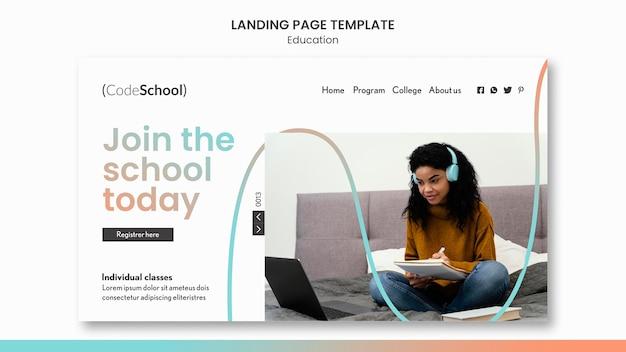 Modèle de page de destination pour l'école de programmation en ligne