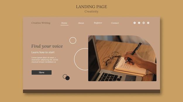 Modèle de page de destination pour l'écriture créative