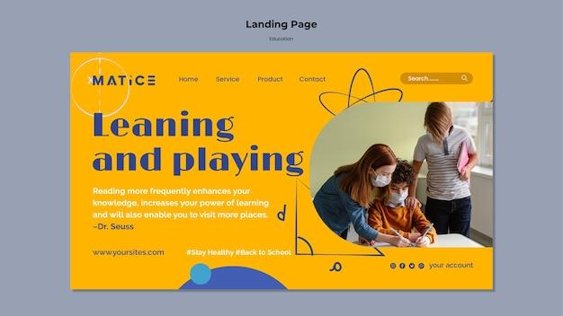 Modèle de page de destination pour l'éducation