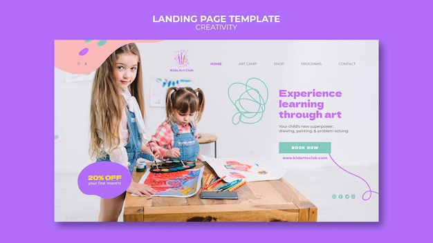 Modèle de page de destination pour enfants créatifs