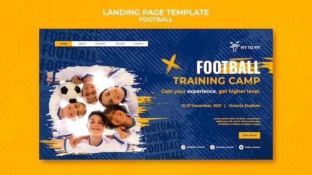 Modèle de page de destination pour l'entraînement de football pour enfants
