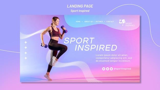 Modèle de page de destination pour l'entraînement physique