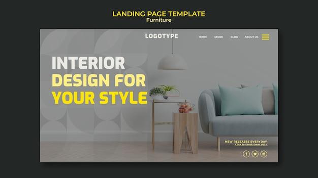 Modèle de page de destination pour entreprise de design d'intérieur
