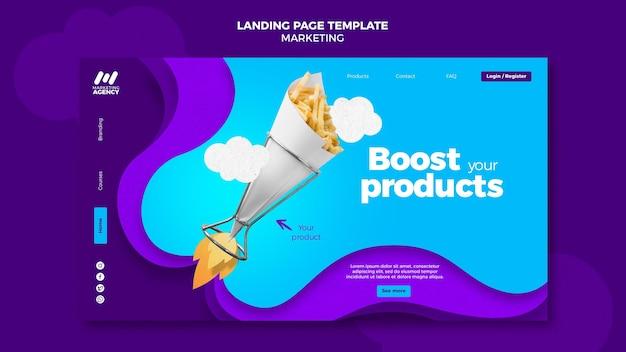 Modèle de page de destination pour entreprise de marketing avec produit