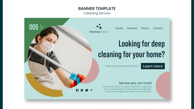 Modèle de page de destination pour entreprise de nettoyage de maison
