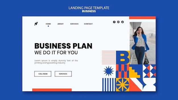 Modèle de page de destination pour les entreprises avec une femme élégante