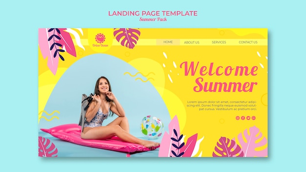 Modèle de page de destination pour l'été