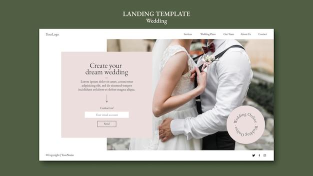 Modèle de page de destination pour un événement de mariage