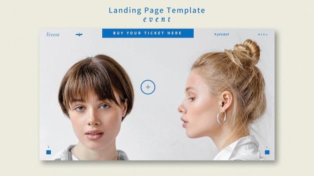 Modèle de page de destination pour un événement de mode