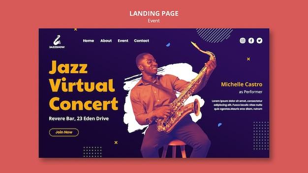 Modèle de page de destination pour un événement de musique jazz