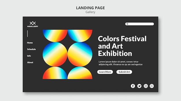 Modèle de page de destination pour une exposition d'art moderne