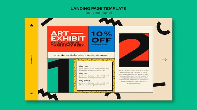 Modèle De Page De Destination Pour Une Exposition D'art Psd gratuit