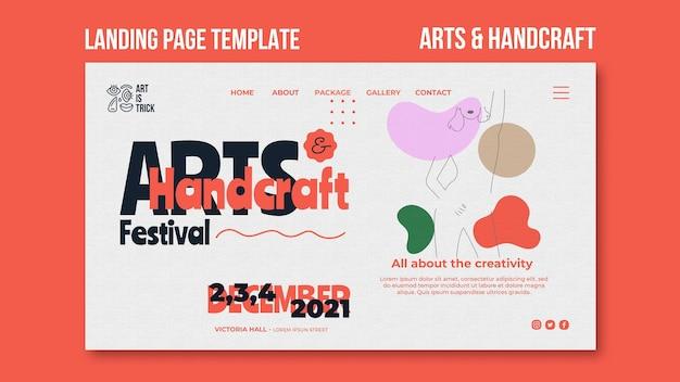Modèle de page de destination pour le festival des arts et métiers