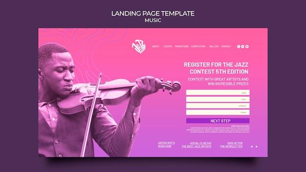 Modèle de page de destination pour festival et club de jazz