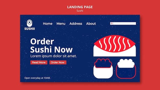 Modèle de page de destination pour le festival de la cuisine japonaise avec des sushis