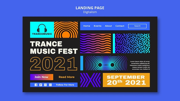 Modèle de page de destination pour le festival de musique trance 2021