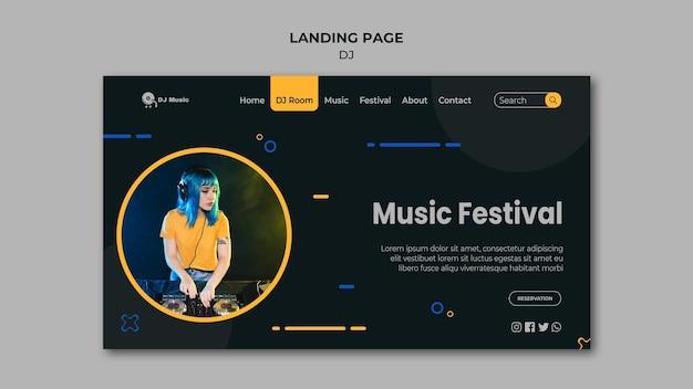 Modèle de page de destination pour festival de musique