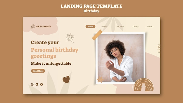 Modèle de page de destination pour la fête d'anniversaire