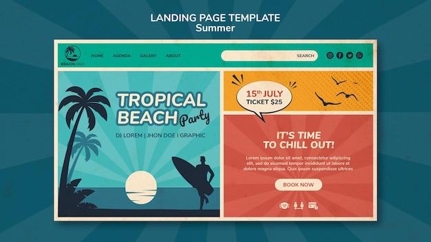 Modèle de page de destination pour une fête à la plage tropicale