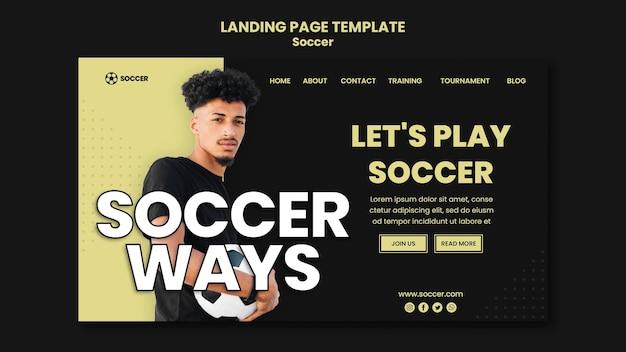 Modèle de page de destination pour le football avec un joueur masculin
