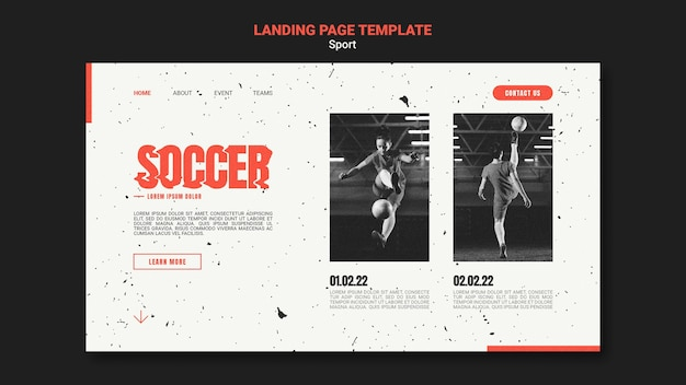 Modèle de page de destination pour le football avec une joueuse