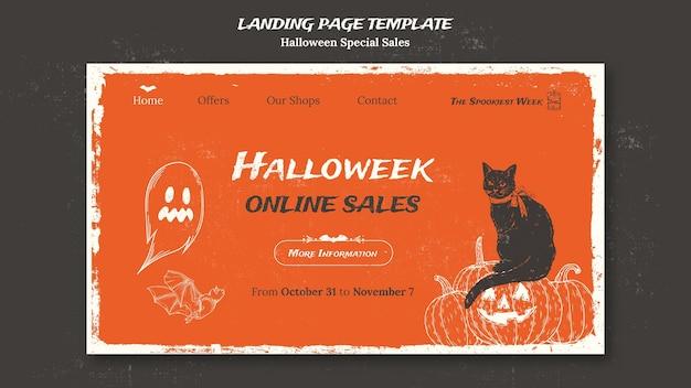 Modèle de page de destination pour halloweek
