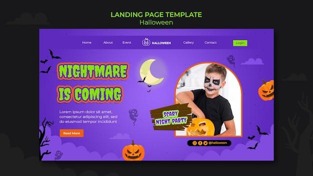 Modèle de page de destination pour halloween avec enfant en costume
