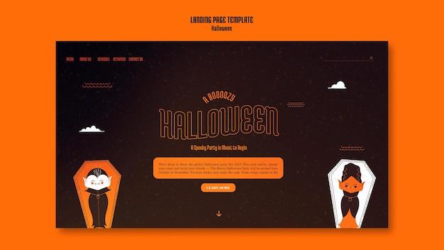 Modèle de page de destination pour halloween avec vampire dans un cercueil