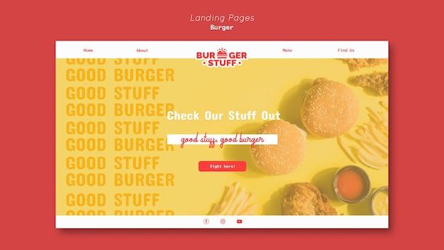 Modèle de page de destination pour un hamburger