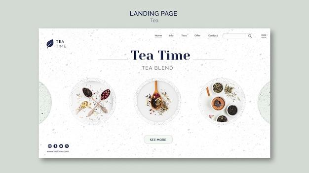 Modèle de page de destination pour l'heure du thé